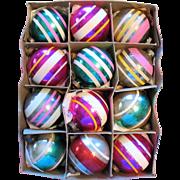SALE Vintage Shiny Brite Glass Christmas Ornaments Box Set of 12 Stripes Original Box