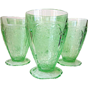 """Set of 6 Depression Glass CHERRY BLOSSOM Green Tumblers 8 oz 4 1/2"""" Scallop Foot"""