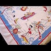 Vintage Florida Map Tablecloth Souvenir Table Cloth 42 x 45