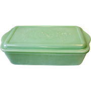 Vintage Fire King Jadeite Green Philbe Refrigerator Dish Bread or Loaf Pan With Lid