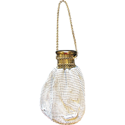 Vintage Whiting & Davis Mesh Purse Gate Top Expandable White & Gold