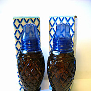 REDUCED Pair Vintage Cobalt Blue Glass Avon Cotillion Cologne Filled Salt Shakers Crystalpoint