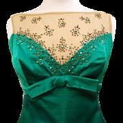 Emerald Green Silk Gown, Vintage