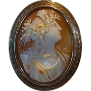 Victorian Cameo Portrait of a Woman 14K Rose Gold Frame
