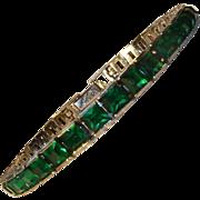 Art Deco Sterling Channel Set Deep Green Rhinestones OT.IS
