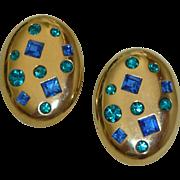YSL Gold Tone Earrings Blue Rhinestones Runway