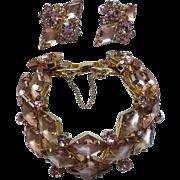 Juliana Pink Purple Bracelet Earrings Vintage Demi Parure
