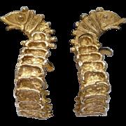 Hattie Carnegie Gold Tone Fish Hoop Earrings Vintage