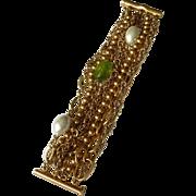 Oscar de la Renta Multi Chain Glass Bracelet Runway Vintage