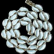 David Anderson White Enamel Double Leaf Necklace Willie Winnaess Designer