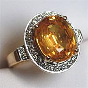 Gondwanaland Gems 7 Carat Golden Sapphire, Diamond Ring