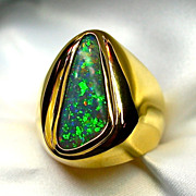 Mens Australian Opal Ring Set in 18K Yellow Gold