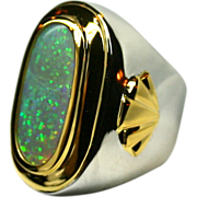 Mens Solid 11.52 carat Opal set in 22K Yellow Gold and Sterling Silver
