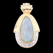 Ladies Large Australian Solid 18+ Carat Opal Pendant/Enhanced with Diamonds