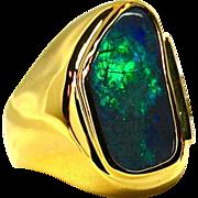 Mens Gem Quality 17.28 Carat Solid Lightning Ridge Opal 18K Yellow Gold Ring with ...