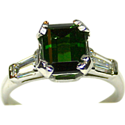 Estate Ladies Vivid Green Tourmaline Platinum Ring accented by Diamonds