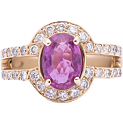 Estate Ladies 2.00 Carat Natural Pink Sapphire surrounded by Diamonds 14K Yellow Gold Ring