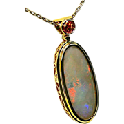 Ladies 11.07 Carat Australian Opal 18K Yellow Gold Pendant with a Sapphire Accent