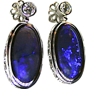 Ladies Solid Australian 18.12 Carat Opal 18K White Gold Earrings with Diamond Accents