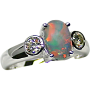 SOLD Ladies Gondwanaland 1.20 Carat Opal Ring set in 18K White Gold with Diamonds