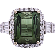 Estate Ladies 7.80 Carat Green Tourmaline 18K White Gold Ring with Diamond Accents