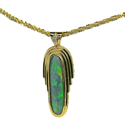 Ladies Lightning Ridge Opal 18K Yellow Gold Pendant with Diamond Accent