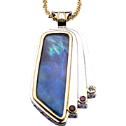 Ladies 31 Carat Solid Opal Pendant set in Sterling Silver and 18K Yellow Gold