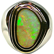 Men's Solid 4.58 Carat Opal Ring set in Sterling Silver and 18K Yellow ...