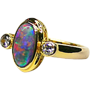 Ladies Colorful 2.10 Carat Solid Opal 18K Yellow Gold Ring with Diamond Accents