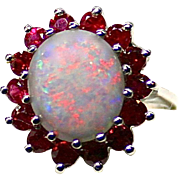 SOLD Ladies 4-5 Carat Solid Opal 14K White Gold Ring with Ruby Accents