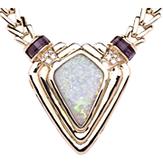 Ladies 14K Yellow Gold Necklace with Centerpiece of Solid Opal accented by Amethysts and ...