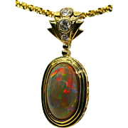 Fit For A Queen Gem Quality Opal Pendant in 18K Yellow Gold with Diamond Bail