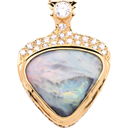 """One of a Kind 12.33 Carat """"Picture"""" Opal 18K Yellow Gold Pendant with Diamonds"""