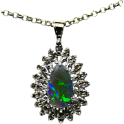Ladies Australian Opal 14K White Gold Pendant with Diamond Accents