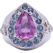 """Fit For A Princess 3.20 Carat """"No Heat"""" Pink Sapphire 18K White Gold Ring with Diamo"""