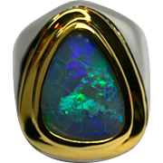 Men's Solid Australian 5.05 Carat Opal Ring in Sterling Silver and 18K Yellow ...