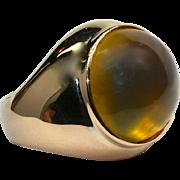 Ladies 7.58 Carat Amber 18K Yellow Gold Ring