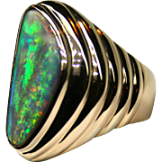 Fit for a Prince Solid 7.54 Carat Australian Opal 18K Yellow Gold Ring