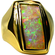 Men's Solid Australian 6 Carat Opal 18K Yellow Gold Ring