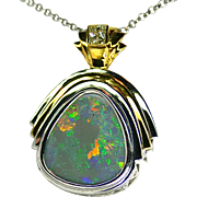 Ladies Solid 9.45 Carat Opal Pendant set in Sterling Silver/18K Yellow Gold with ...