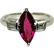 Ladies Estate Unheated 1.40 Carat Pink Sapphire 14K Ring with Diamond Accents