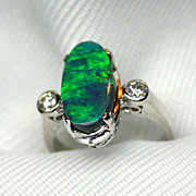 Ladies Lightning Ridge Solid Opal 18K White Gold Ring with Diamond Accents