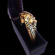 18k Leopard and diamond bangle bracelet