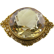 Early Large Citrine Brooch with C-Clasp in 18 Karat Yellow Gold