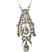 Georgian Reticulated Diamond Pendant in Silver with 10KYG Chain