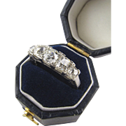 Platinum Lady's Vintage Band with Old European Cut and Mine Cut Diamonds for Engagement ...