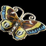 David Anderson Enamel Butterfly Brooch in Sterling Silver
