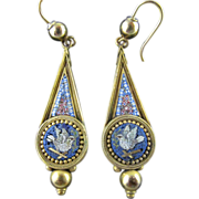 Mid Victorian Micro Mosaic Earrings Featuring Doves in 14 Karat Gold
