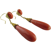 Victorian 14KYG Coral Earrings, Etruscan Style