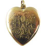 Antique Victorian Heart Locket with Engraving in 14 Karat Yellow Gold